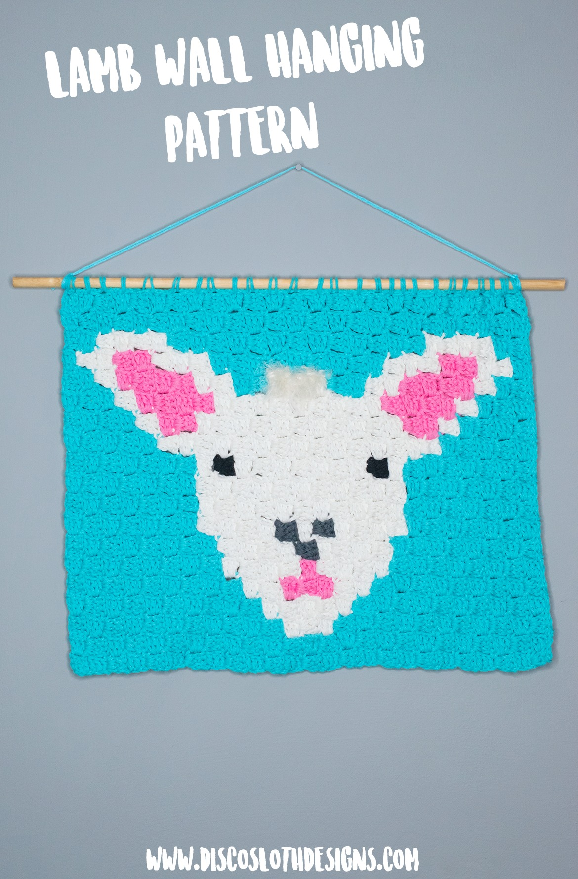 lamb wall hanging corner to corner crochet pattern