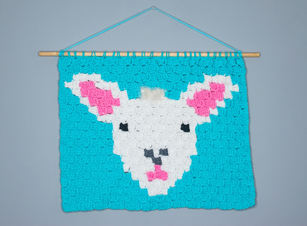 corner to corner lamb wall hanging crochet