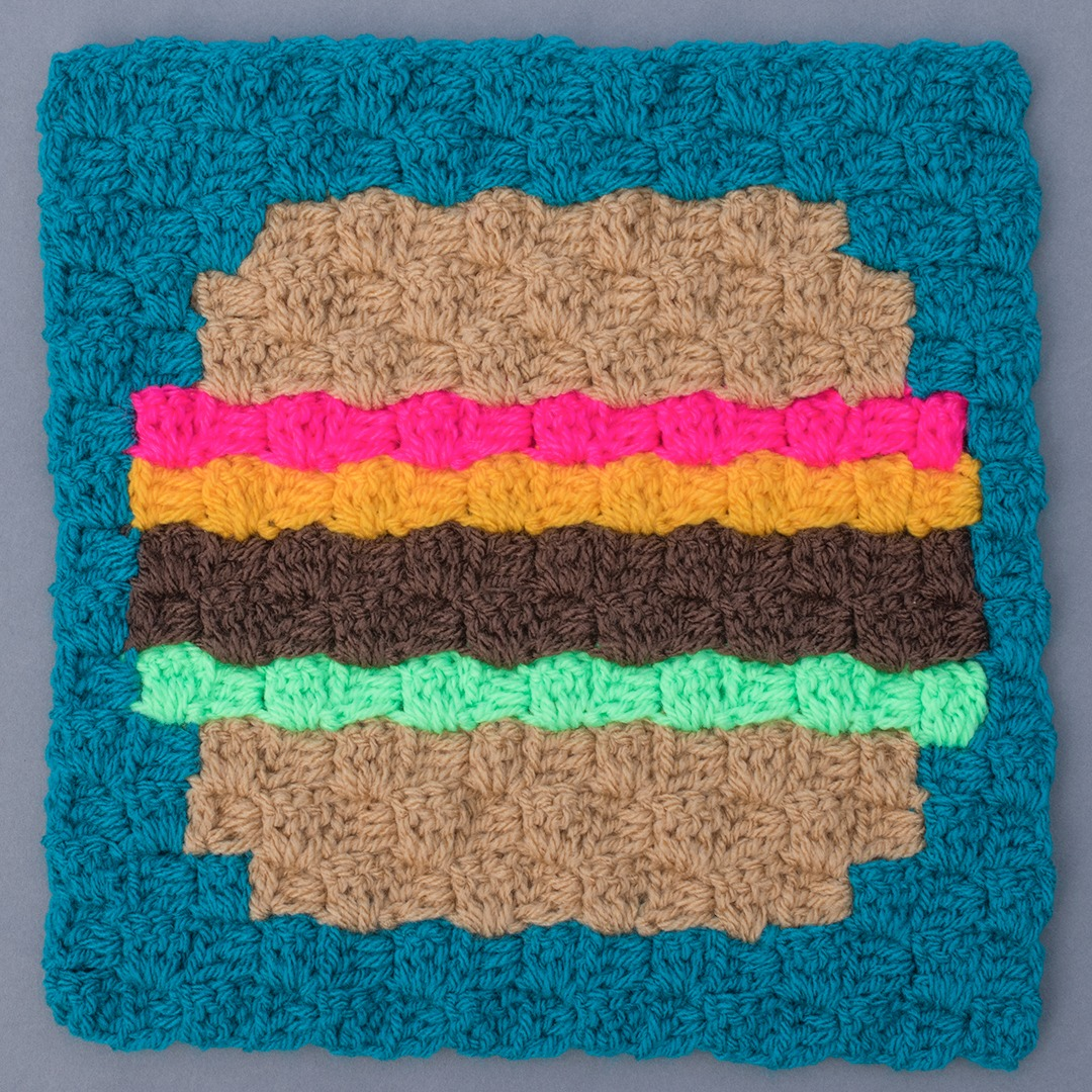 BURGER CROCHET SQUARE